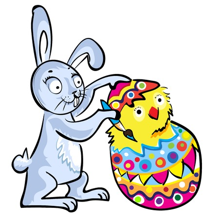 Cartoon Easter bunny colorable shell eggs with chicken Vector