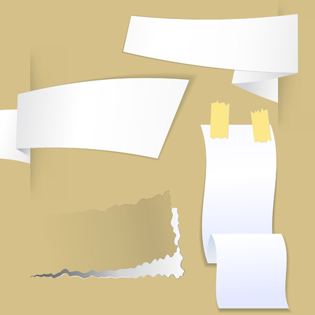 Collection with various pieces of paper for scrapbook and notes, ready for your message Vector