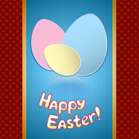 Easter greeting card with paper eggs for banner or invitation Vector