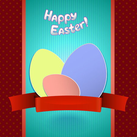 Easter retro card with paper eggs and ribbon for greeting banner or invitation Vector