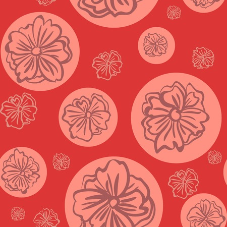 bedclothes: Seamless red pattern with big flowers. Vector illustration. Illustration