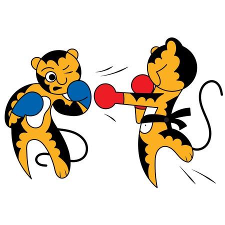 tae: Vector de dibujos animados de dos tigre cachorro artes marciales j�venes lindas, que se lanza en la lucha Vectores
