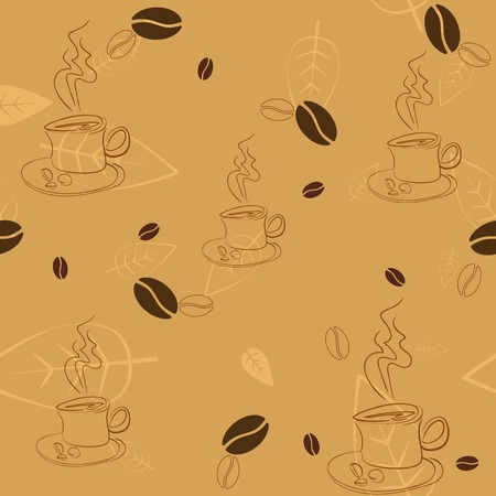 Seamless pattern with coffee beans, cups and leaves on light brown background Stock Vector - 27320906