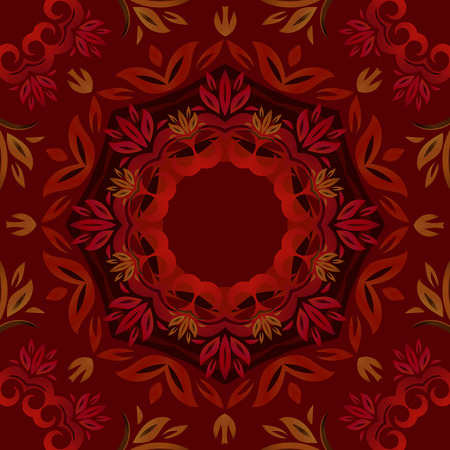 Abstract dark red floral repeating background with round vector pattern Vector