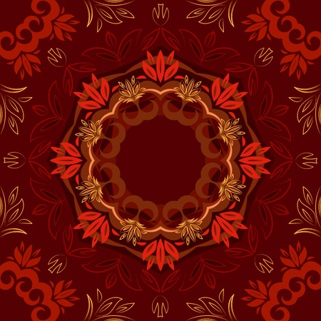 Abstract red floral repeating background with round vector pattern Vector