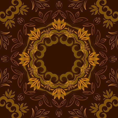 Abstract brown floral repeating background with round vector pattern Vector