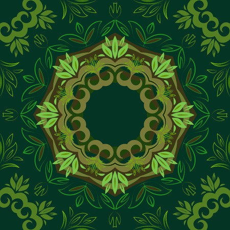 Abstract green floral repeating background with round vector pattern Vector