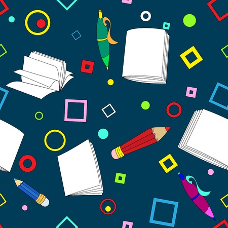 School notes seamless pattern on dark blue background. Tools for drawing. Cartoon color background. Vector