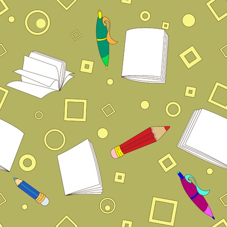 School notes seamless pattern on khaki background. Tools for drawing. Cartoon color background. Vector