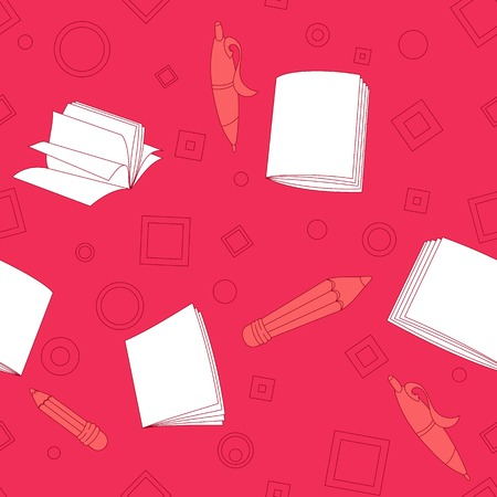 School notes seamless pattern on pink background. Tools for drawing. Cartoon color background. Vector