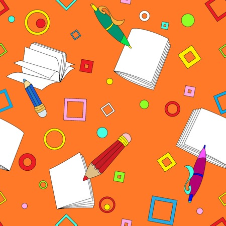 knapsack: School notes seamless pattern on orange background. Tools for drawing. Cartoon color background.