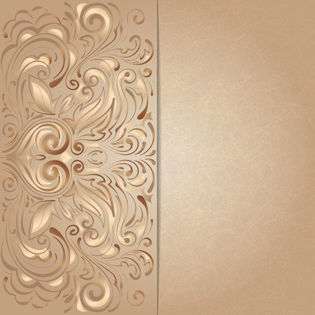 background for invitation with brown floral pattern Vector