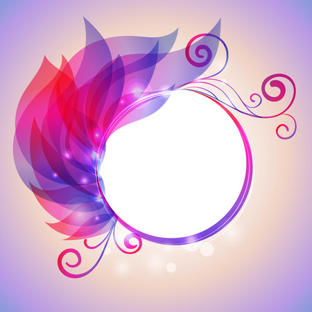 Colorful wing of leaves with swirl and bokhen effects, frame for text Vector