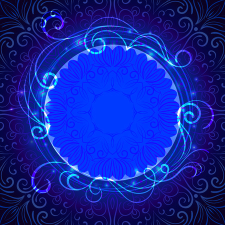 Abstract blue mystic lace background with swirl pattern and frame for text Vector