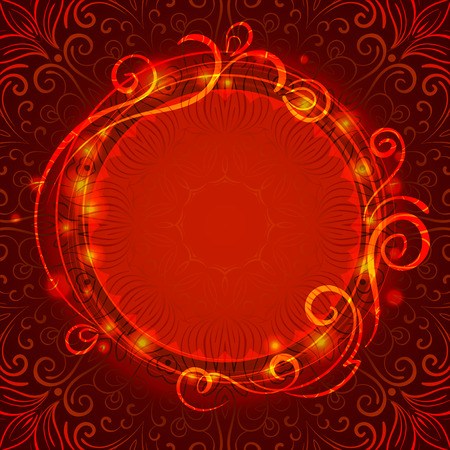 Abstract red mystic lace background with swirl pattern and frame for text Vector