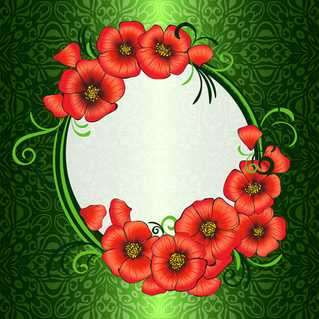 frame with red poppies and green damask patterned background Vector