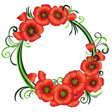 Floral frame with red poppies and green swirls, isolated vector illustration, clipart Vector