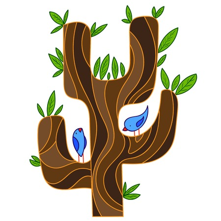 thrush: abstract stylized tree with songbird, isolated vector illustration, clipart