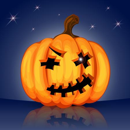 fool moon: Evil scary Halloween pumpkin on a dark blue night sky
