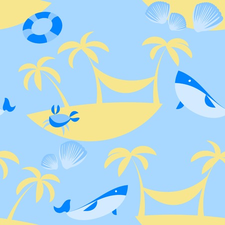 Seamless Beach Vector Pattern with sea and sand colors Vector