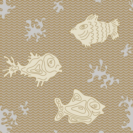 Seamless Marine Vector Pattern with fish and algae Vector
