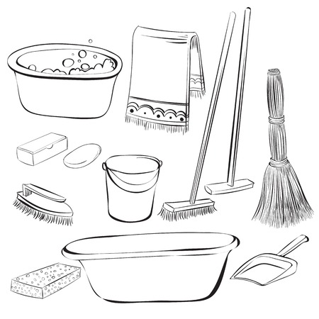 empty the bowl: tools with things for cleaning and wash Illustration
