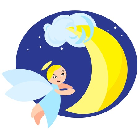 angel and moon