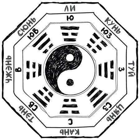 simbol: ba gua schema di doodle Vettoriali