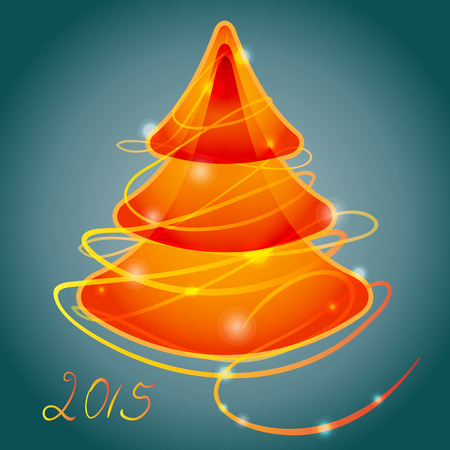 luminous: orange luminous christmas tree Illustration