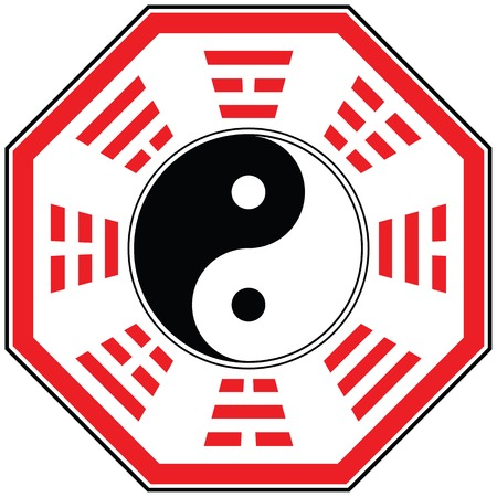 trigram: isolate vector feng shui ba gua diagram for your design