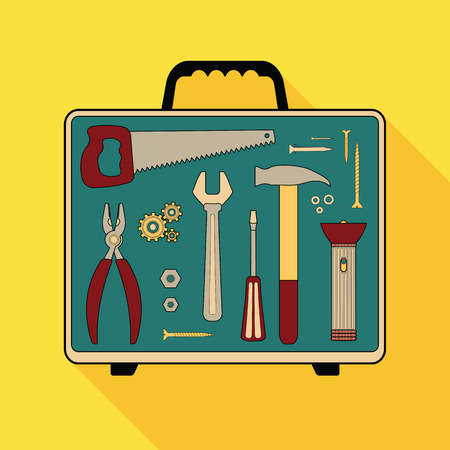 debugging: set of flat special building tools in suitcase Illustration