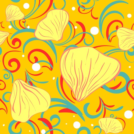 petal: yellow siamles with flower petal and swirl for textile background Illustration