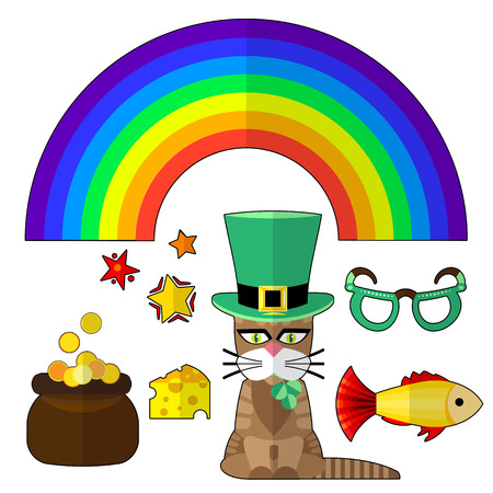 saint patrick cat and vector objects for your design,  Vector