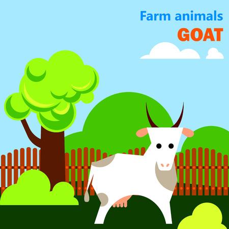 Educational flashcard with goat on the farm