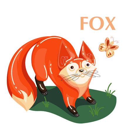 Fox and flying butterfly. Educational card helps the speech therapist for preschoolers for children and baby in the cartoon style about wild animals. Isolated Flat illustration. Banque d'images - 121822810