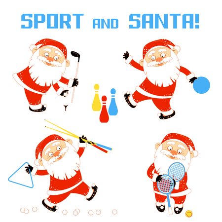 Set of vector illustrations with Santa Claus playing sports games golf, bowling, billiards, tennis. A bearded man in Santa Claus costume plays in a sports entertainment center. Vector illustration isolated on white background. For your design of banner, greeting card, invitation, poster, package and other decorations.