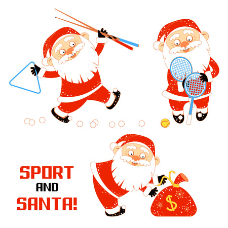 Set of vector illustrations with Santa Claus playing sports games billiards, tennis and holds the money bag. A bearded man in Santa Claus costume plays in a sports entertainment center. Vector illustration isolated on white background. For your design of banner, greeting card, invitation, poster, package and other decorations.