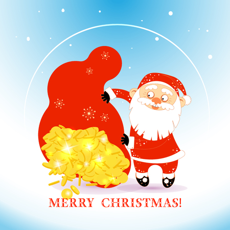 Old man in costume of Christmas Santa Claus holds a huge money bag from which coins pour out. Cartoon character with a sack of money. Vector illustration isolated on white background. For your design of banner, greeting card, invitation, poster, package and other decorations. Çizim