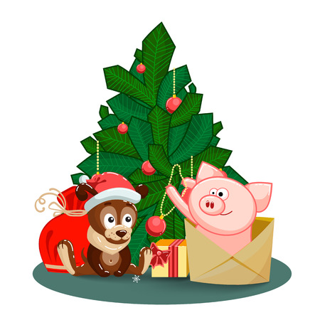 A merry puppy, a bag, gifts and a joyful pig jumping out of an envelope to decorate the fir branches of tree for a happy new year and Christmas. Christmas or New Year greeting card with characters for congratulations. Clip art with animals on Chinese New Year. Isolated humor kids vector illustration on white background