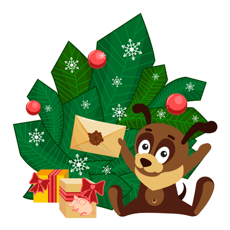 A puppy in a New Year cap sitting in front of branches with decorated balls and holding an envelope from Santa Claus. Christmas or New Year greeting card with characters for congratulations. A merry dog puppy enjoys letter from Santa Claus. Cartoon clip art with animals on chinese New Year. Isolated kids vector illustration on white background