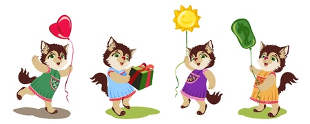 Cartoon character little cute kitten in dress sundress with balloon and box isolated on white. Cheerful children s illustration for web-greetings, design of children s applications and postcards. The kitten holds a balloon, the kitten runs with a balloon, the kitty flies on a balloon, the cat gives a gift in a box. Vector image with balloons in the form of heart, sun, dollar.