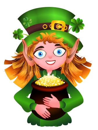 Redheaded girl Leprikon in a traditional costume smiles and holds a pot filled with gold coins. A funny cartoon illustration for St. Patrick s Day. A girl in a cap with a clover holding a treasure pot. Vector image isolated on white background. For web and print design, for greetings, cards and children s illustrations.