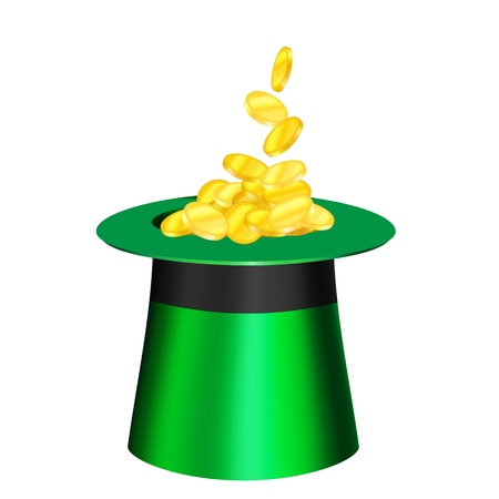 Vector cartoon hat for St. Patrick s Day. Gold coins are poured into the green top hat. Traditional hat for St. Patrick s Day with a three-leaf clover and gold decoration. Icons are designed to complement the design of invitations, cards, banners, for printing and web.