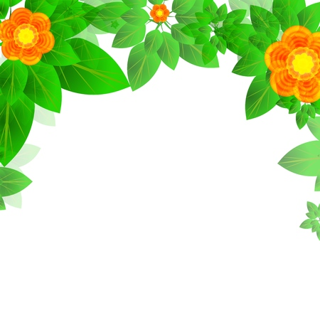 Summer or spring leaves with flowers banner concept. Stylish background with top borders of colorful leaves with blank space for text block. Vector illustration frame for the design and decoration of printed and web products, flyers, cards, banners and headpieces, organic packaging.