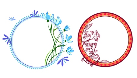 Wreath set with flowers, herbs, bluebell, snowdrop, tree branches. Vector cartoon illustration isolated on white.