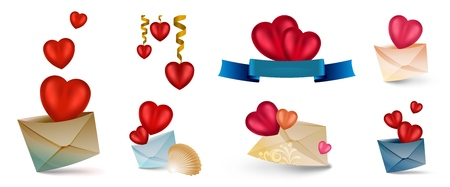Set of vector cartoon icons with hearts isolated on white. Contains Mesh elements. Heart flies out of the envelope. The heart is enclosed in an envelope. Heart with flowers and ribbon. Letters with hearts. Messages of love. The heart is hanging on the tape. An envelope with a heart and a sea shell. Love letter. Send your love. Illustration for the Internet, paperwork, greeting cards, stickers, congratulations on Valentine s Day, Mother s Day. happy Birthday.