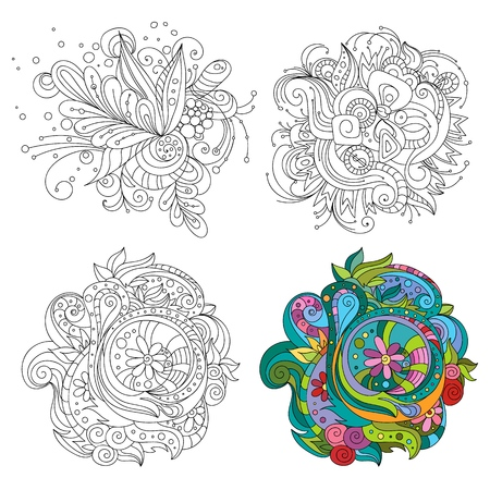 Set of  abstract line art patterns