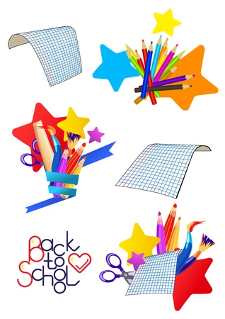 Set of vector cartoon icons on a school theme. Sheets of paper lined in a cage, pens, pencils and brushes with a ruler on the background of stars, stationery in a vase of paper tape. Lettering back to school. Illustration isolated on white.