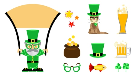 Set of flat vector icons for St. Patrick s Day. A man with a beard and mustache in glasses and a hat holds a scroll transparency. multi-colored magic stars. Cat with a bow in a hat. Pot of gold coins. Green glasses. Cylinder hat. Beer in a glass. Beer mug. Gold fish. Three-leaf and four-leaf clover. Icons are designed to complement the design of invitations, cards, banners, for printing and web, for elements in applications.