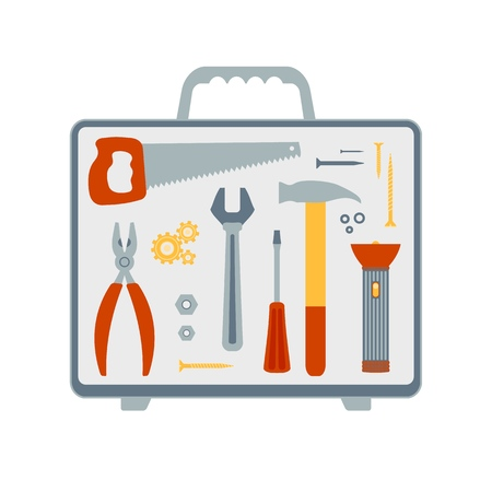 Set of vector flat icons on the topic of repair and building tools. Saw, pliers, wrench, screwdriver, hammer, flashlight, nuts, washers, screws and nails are folded into a suitcase. Illustration isolated on white. Иллюстрация